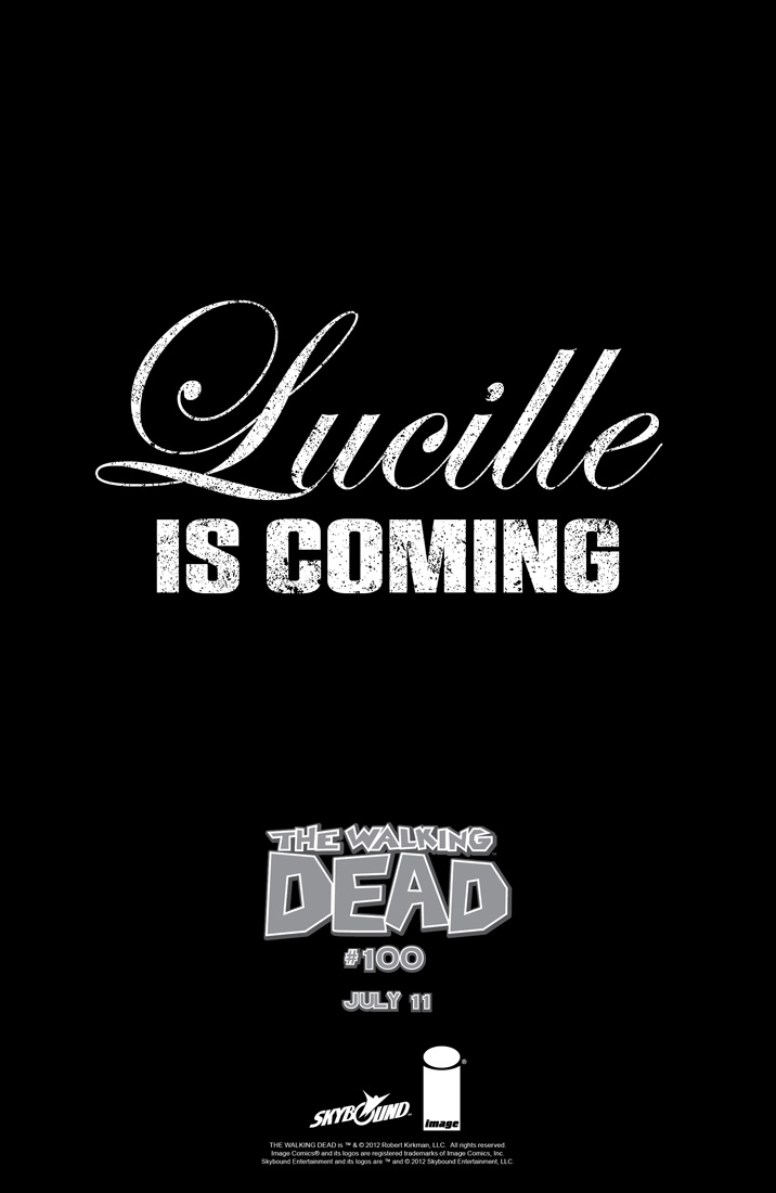 Lucille is Coming……Walking Dead #100