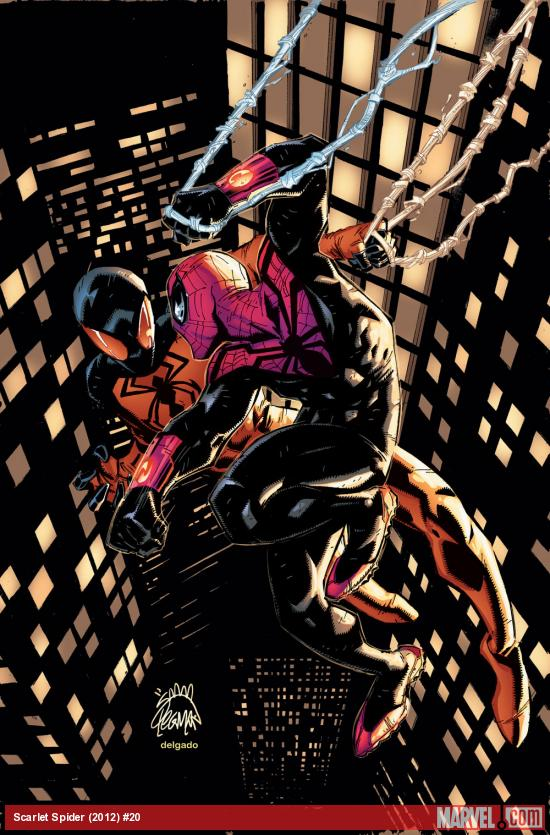 a newly costumed SUPERIOR SPIDER-MAN and SCARLET SPIDER Team up
